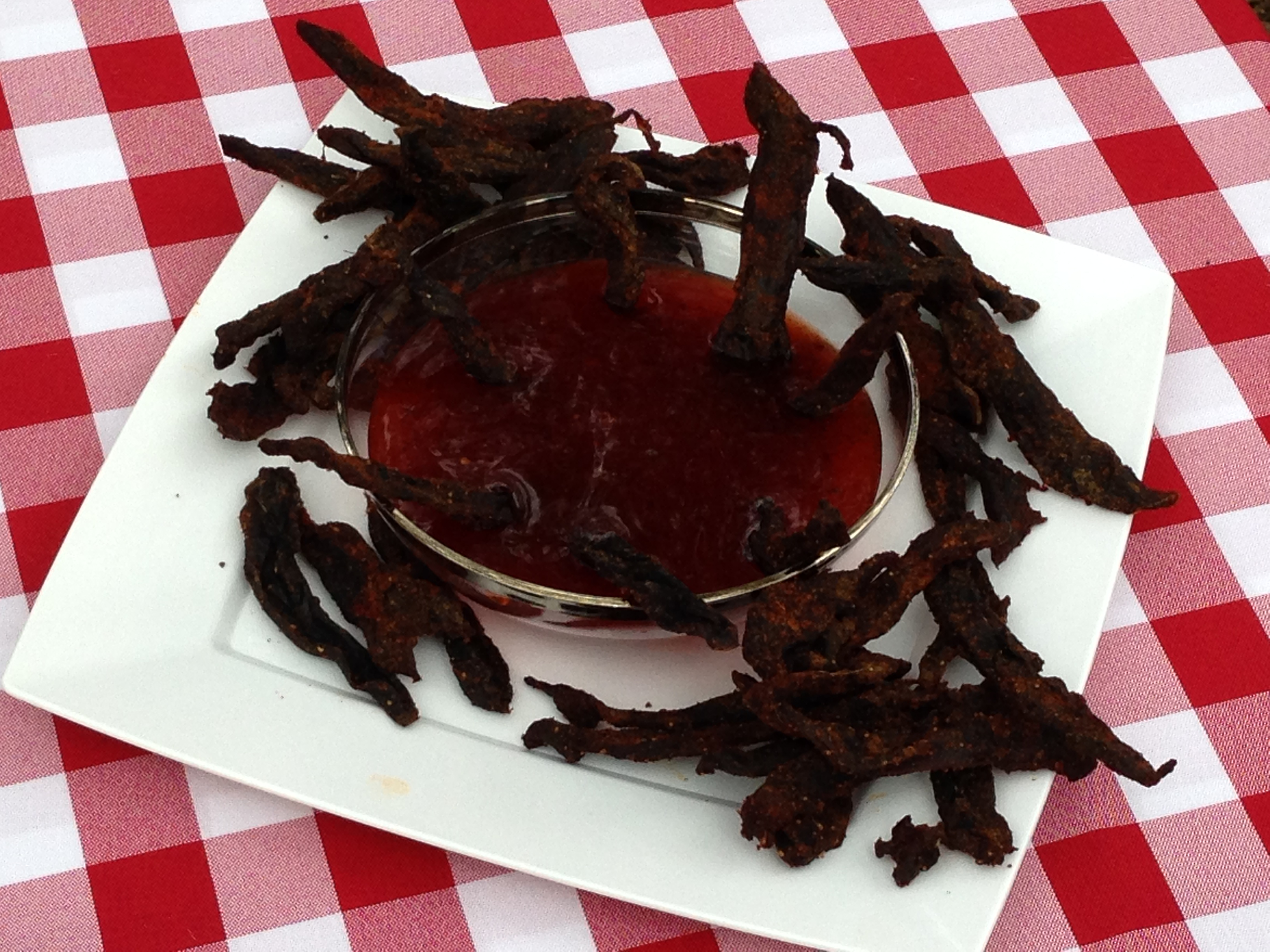 duck breast jerky and sweet and sour dipping sauce