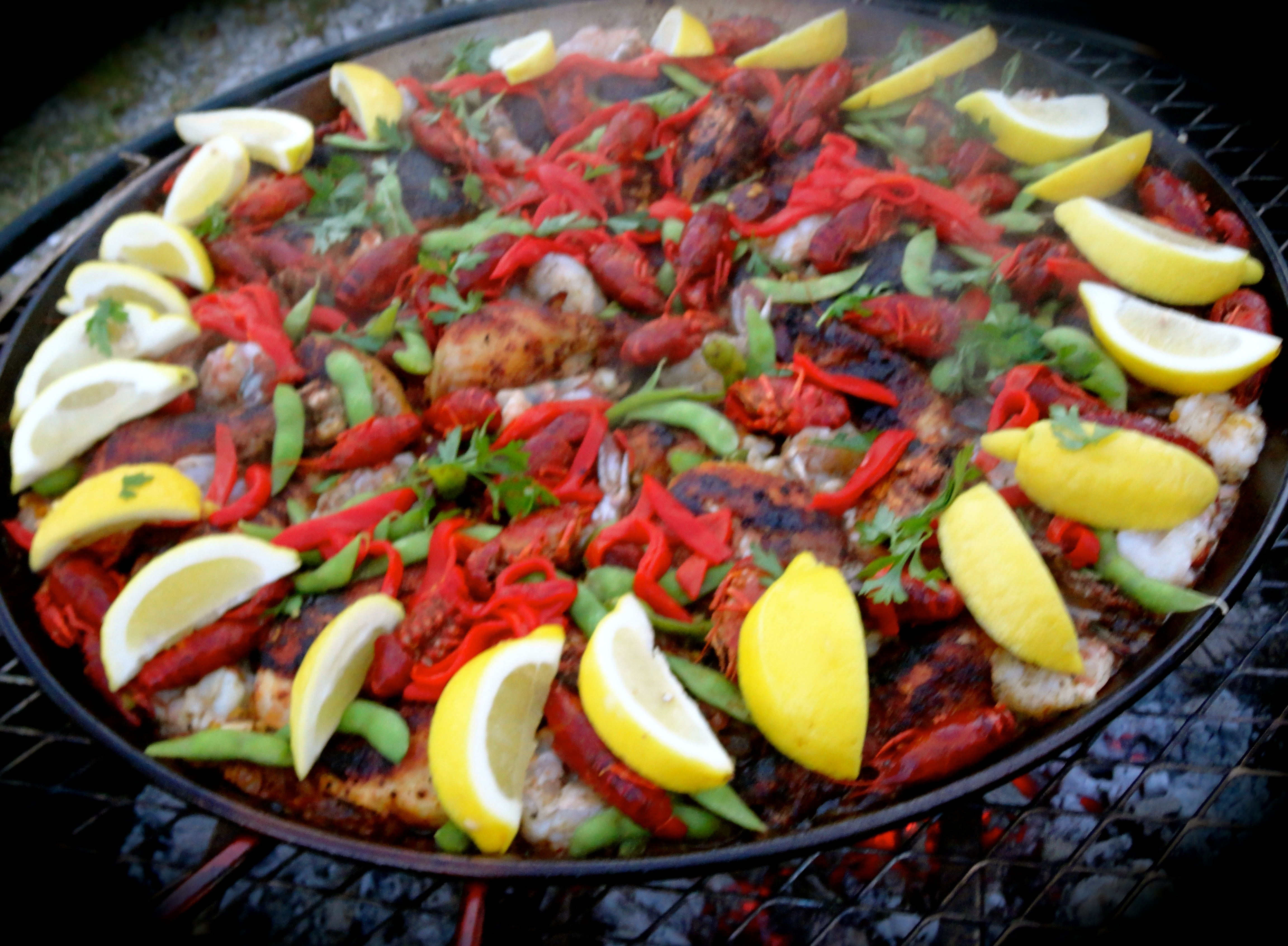 Our paella featuring chicken, chorizo sausage, prawns, and crawfish
