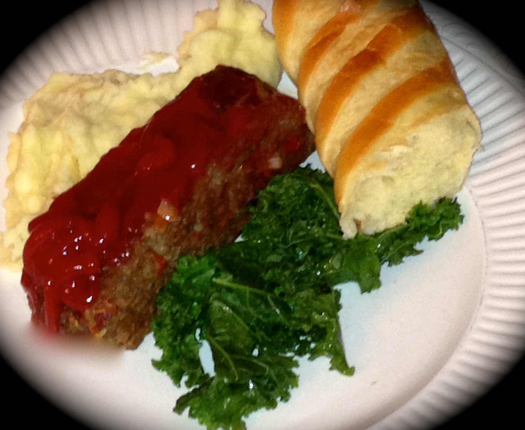 Sirloin Meatloaf, Cheesy Mashed Potatoes, and Roasted Kale