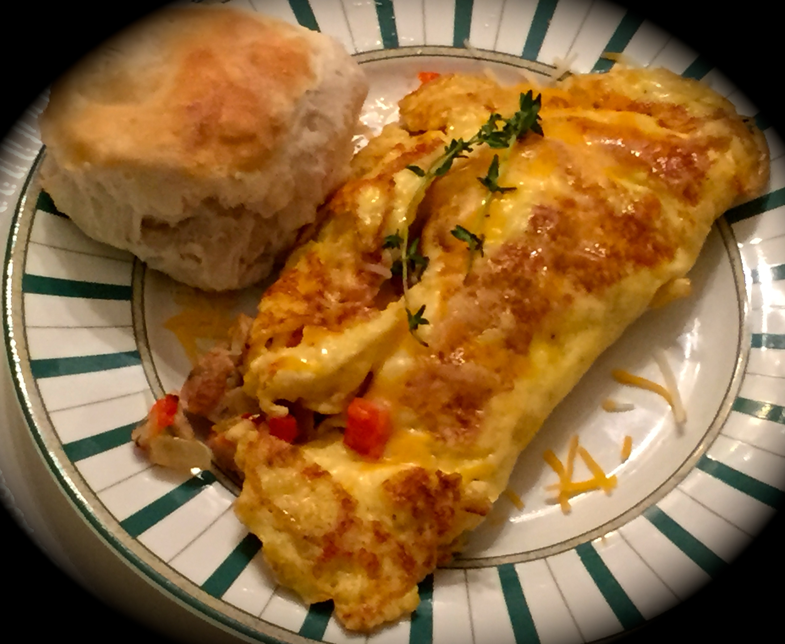 omelet featuring diced fowl meatball