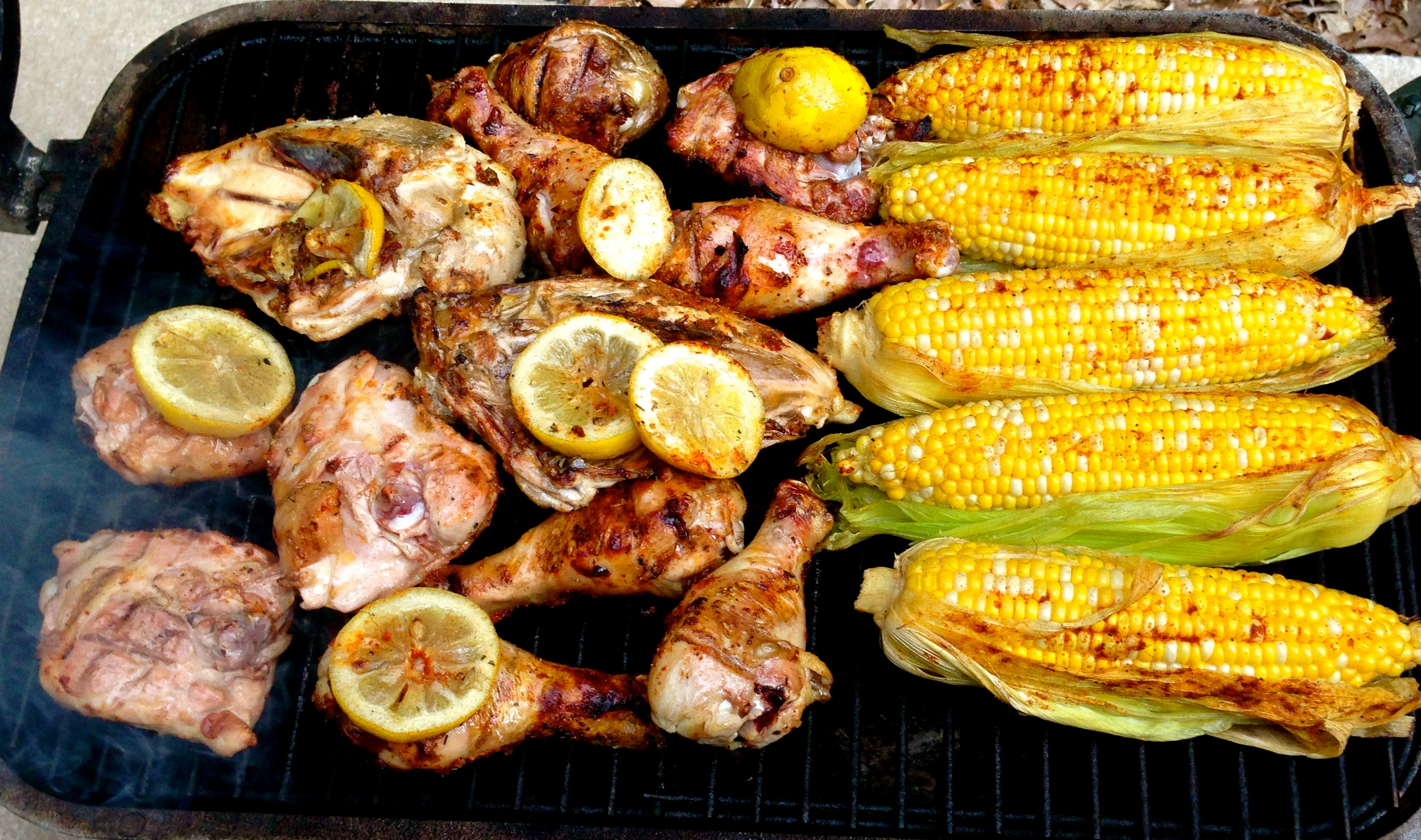 grilled chicken and sweet corn