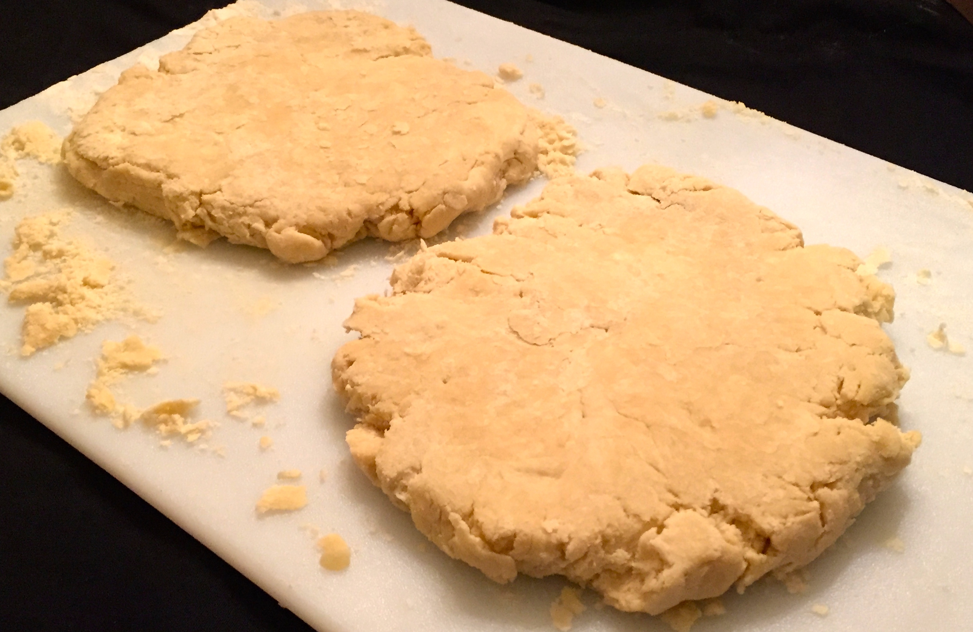 pie dough patted into disks ready to be refrigerated