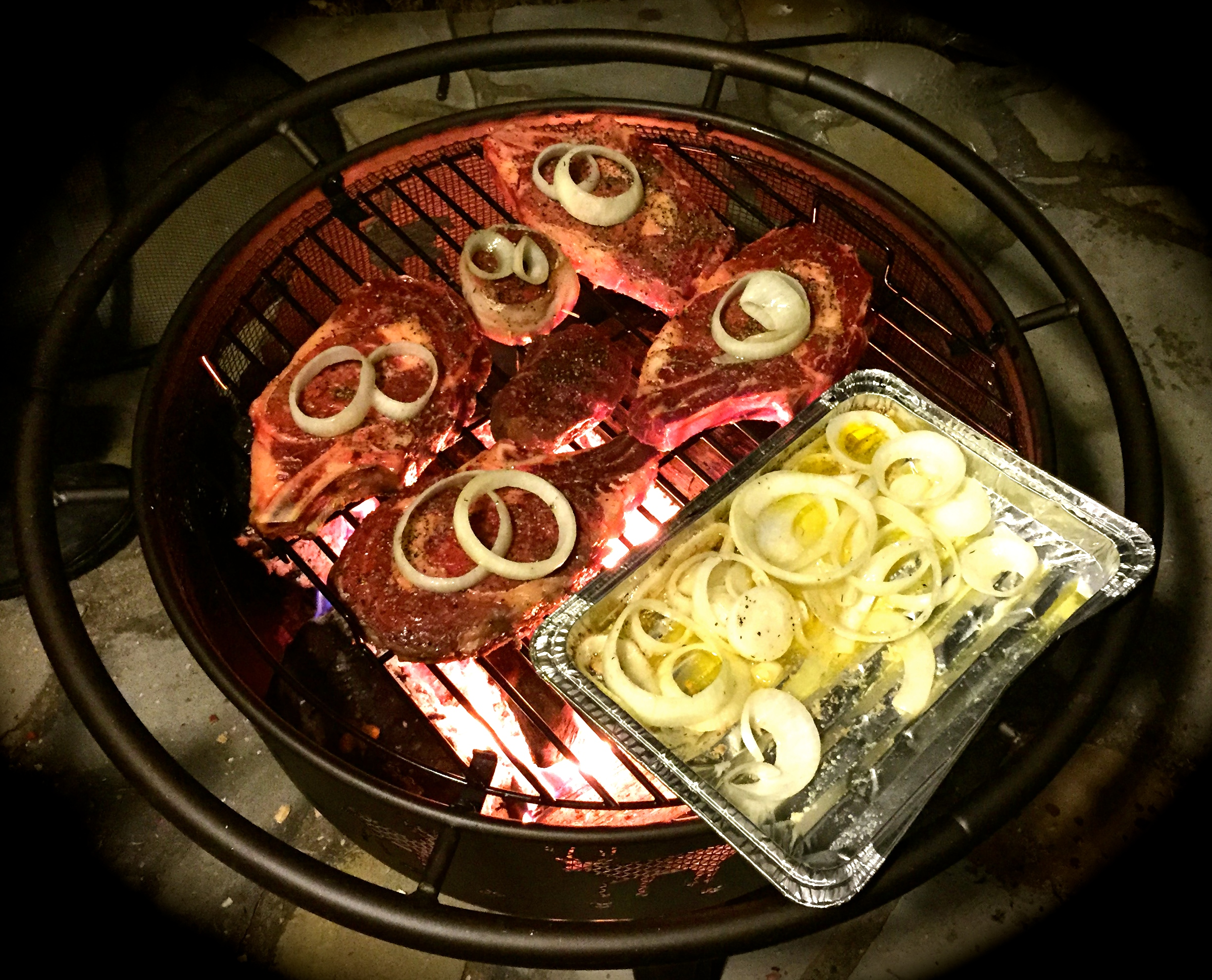 Son-of-Convivial Boar's newly acquired fire pit grill