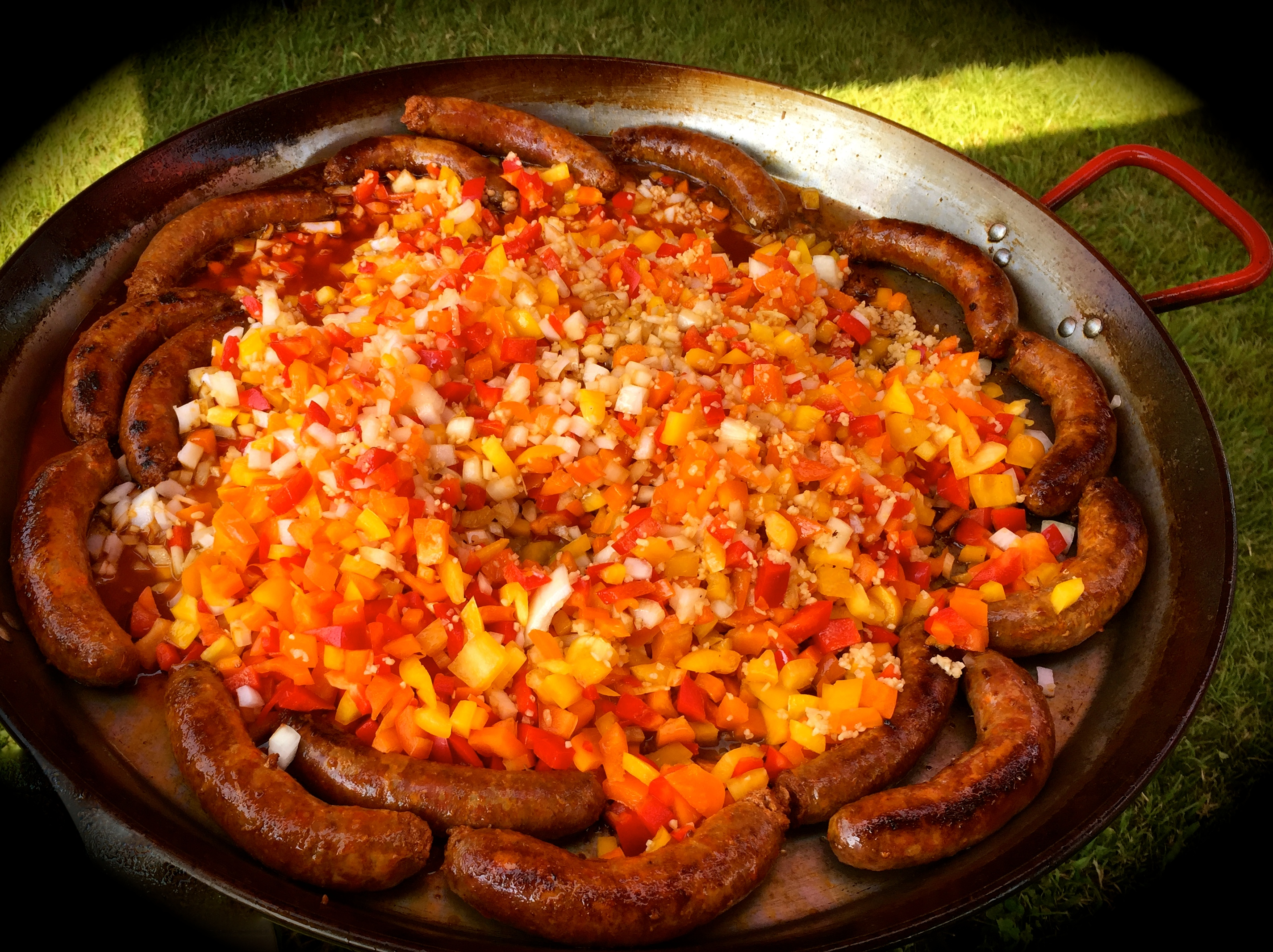 chorizo and peppers, onion and garlic