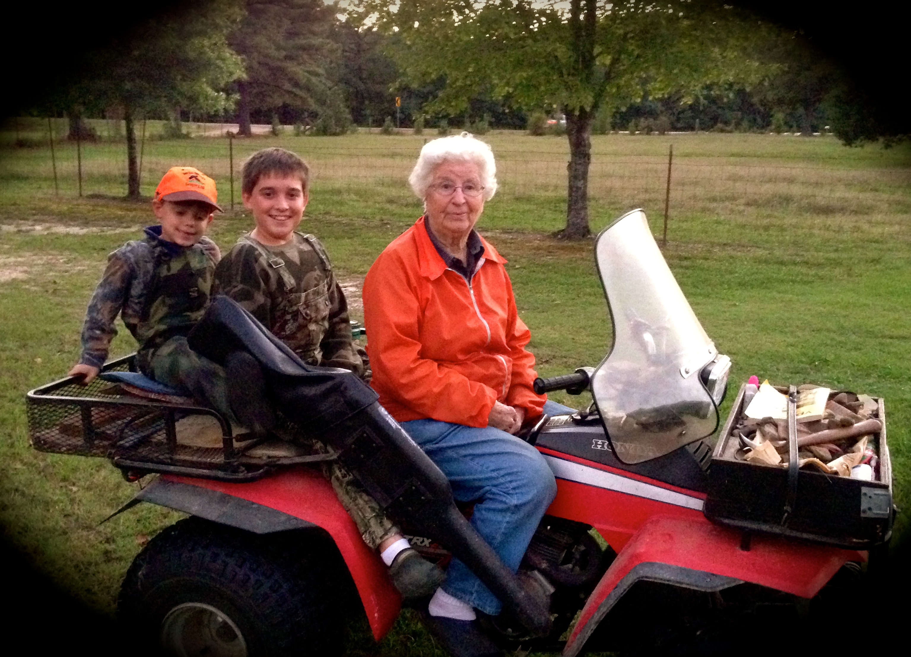 mamaw on four wheeler
