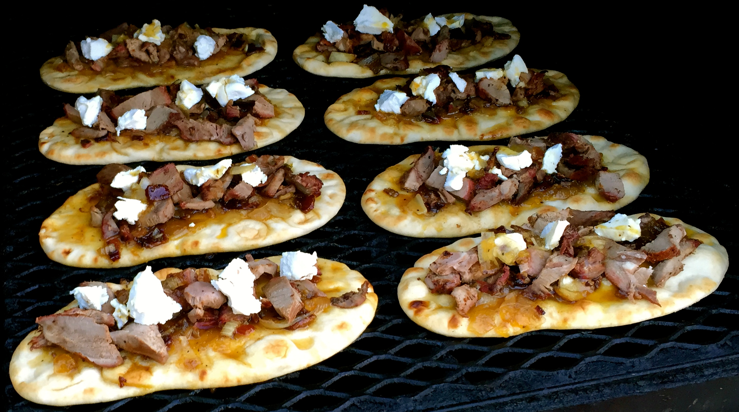 venison flatbread on smoker